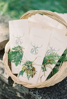 Incorpprate antlers into your monogram for your ceremony programs | Brides.com