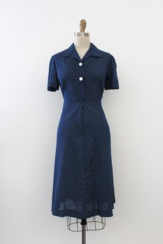 FALL SALE / vintage 1950s dress // 50s polka dot by TrunkofDresses