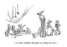 Caricatura de A. Poch din brosura CIRC DE BUZUNAR publicata de Uniunea Artistilor Plastici din Romania. Autorul este cunoscut mai ales pentru caricaturile publicate in revista de satira si umor URZICA.