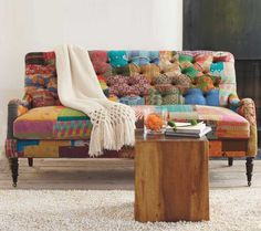 Love patchwork. Great way to use fabric scraps for reupholstery projects!