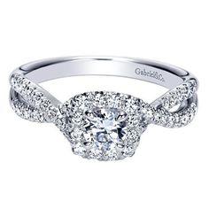 14K White Gold .67cttw Criss-Cross Halo Diamond Engagement Ring