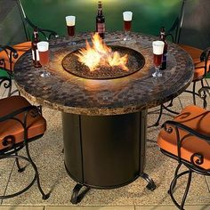 Contessa Round Outdoor Fire Pit Table - firepits - chicago - Home Infatuation