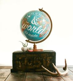 Vintage Typographic Globe  Life is short and the by pixelsandwood, $100.00