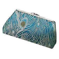 Peacock Clutch Purse. Homemade of designer fabric, a gold metal purse frame and lined with silk.  photo 3/3