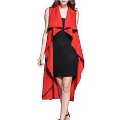 Aksautoparts Womens Sleeveless Long Coat with Waistband Ladies Waterfall Cape Open Draped Jacket
