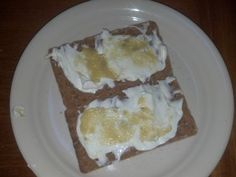 Snack 12/22/12 – Two Wasa Sourdough crackers, hummus, cream cheese, ginger spice. Didn't take picture. Picture below is old. I had hummus on one and cream cheese/ginger spice on the other.