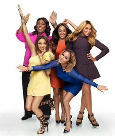 The Real. Loni Love, Tia Mowry-Hardict, Tamar Braxton, Jeanie Mai, and Adrienne Bailon. Love these beautiful girls! So funny and real!