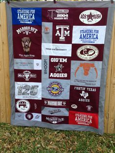 Whoop!- Texas A M (Aggie) t-shirt quilt from CozyByChristine.com. https://www.etsy.com/listing/128411782/fathers-t-shirt-quilt-gift-certificate?ref=shop_home_active