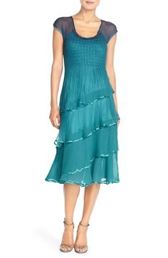 Komarov Embellished Tiered Chiffon A-Line Dress available at #Nordstrom