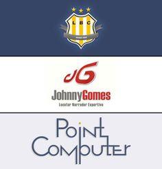 Trio de logos: LBC (time de futebol virtual), JG (Johnny Gomes - Locutor Narrador Esportivo) e Point Computer (informática).