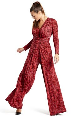Palazzo Red Jumpsuit | Marble Red V-Neck Jumpsuit. Palazzo Jumpsuit in Red Marble is your go-to easy-to-wear cocktail party to dinner saviour. Bringing back some playful 30s glamour, this is a truly comfortable style that you'll love to wear. The combination of print, long sleeves and draping details elongate the figure and slim the silhouette to suit all curvy and big busty figures. With the look and feel of a maxi-dress, you've got elegance contained in a striking autumn winter look.