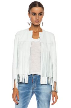 ThePerfext April Fringe Leather Jacket in White | FWRD