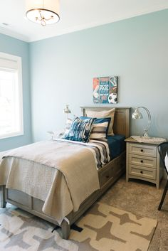 House of Turquoise: Dream Home Tour - Boy's Room - BM Nantucket Fog Turquoise Bedroom Paint, Bedroom Paint Colors, Interior Paint Colors, Paint Colors For Home, House Of Turquoise, Dream Home Design, Luxury Interior Design, Benjamin Moore, Interiores Design