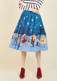 Frost Impressions A-Line Skirt - Under 100 Gifts, Woven, Long, Blue, Novelty Print, Print, Work, Casual, Holiday, Holiday Party, Vintage Inspired, 50s, Quirky, Full, Winter, Cotton, Better, Saturated, Holiday Gifts