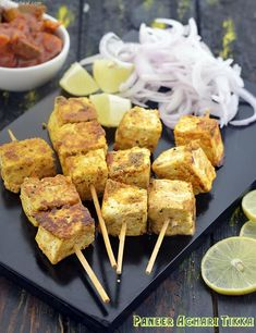 Paneer Achari Tikka, Indian Starter 👇Crisp outside, succulent inside, and masaledar to the core, the Paneer Achari Tikka is a tongue-… Paneer Recipes, Veg Recipes, Other Recipes, Vegetarian Recipes, Cooking Recipes, Recipies, Indian Starter Recipes, Indian Food Recipes, Indian Appetizers