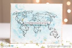 Handmade stamped card, origami map.