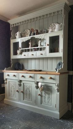 Large French Dresser - Kitchen Unit - Hand Painted Shabby Chic | eBay