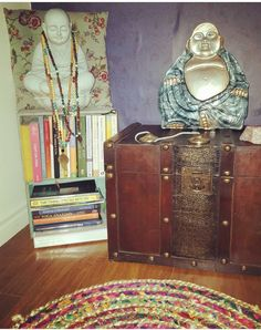 This smiling Buddha and yoga book library corner: | 21 Meditation Spaces That Will Calm You The Fuck Down