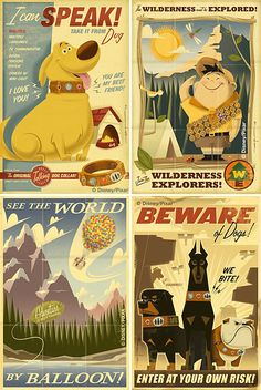 Vintage style posters for the movie Up.