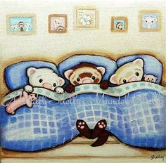 Stretched Canvas PRINT  Ferrets in Bed  Sable by ShellyMundelArt, $30.00