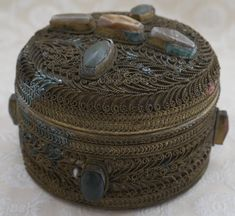 Wire Work Box, Metal Trinket Box, Inset Stones, Vintage Trinket Pot, Jewellery Box, Dressing Table Item, Metal Jewelry Box, Indian Boho by RetroEtCetero on Etsy https://www.etsy.com/listing/563195529/wire-work-box-metal-trinket-box-inset