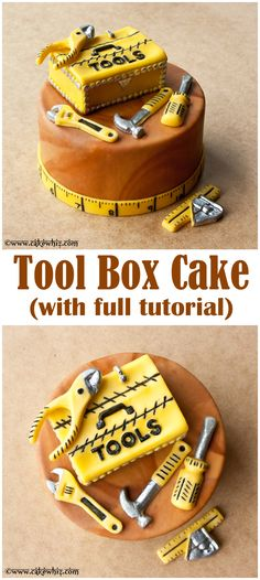 TOOL BOX CAKE with full tutorial ~ The perfect cake to serve at your handymen father and brothers birthday parties(Cupcake Bake Tools) Crazy Cakes, Fancy Cakes, Cute Cakes, Tool Box Cake, Fathers Day Cake, Cakes For Men, Men Cake, Cake Decorating Tutorials, Decorating Tools
