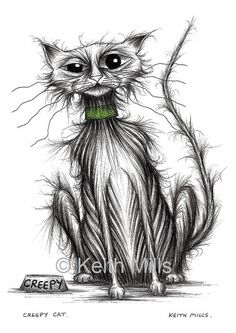 Creepy cat Print download by KeithMills on Etsy, £3.00