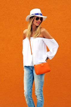 wisteria lane off the shoulder ivory blouse daily chic boutique style outfit Looks Style, Style Me, Spring Summer Fashion, Spring Outfits, Spring Style, Look Fashion, Womens Fashion, Fashion Trends, Fashion 2015