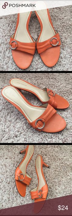 Ann Taylor Orange Slip On Sandals Kitten Heels Vintage Ann Taylor sandals in good condition. Super adorable and appropriate for Spring and Summer. Ann Taylor Shoes Sandals