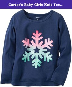 Carter's Baby Girls Knit Tee 235g527, Navy, 6M. Carter's Snow Flake Print Tee - Navy Carter's is the leading brand of children's clothing, gifts and accessories in America, selling more than 10 products for every child born in the U.S. Our designs are based on a heritage of quality and innovation that has earned us the trust of generations of families. Features: Long sleeve style Screen printed .
