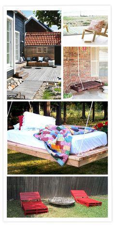 Palets, Reciclaje, Eco Design, Muebles exterior, Tumbonas, Camas colgantes, Terraza, Palettes, Meubles extérieur, Chaises longues, Lit suspendu