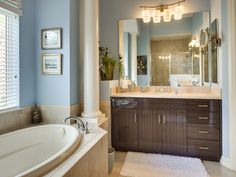 Transitional Blue Bathroom - Horse Creek Estates - Naples, Florida