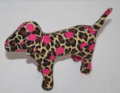 "Victorias Secret Dog Pink Brown tan Leopard print cloth plush Dots 7"" stuffed"
