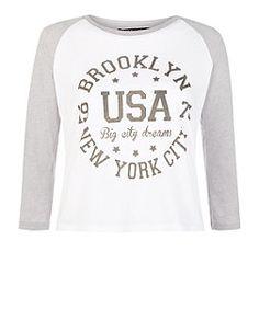 Teens Grey Brooklyn USA Raglan Top   New Look