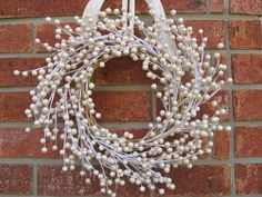 Pearl berry wreath for winter (not Christmas!)