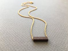 gold-plated chain necklace with wood bead by createyourhappy