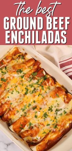 These are the best Ground Beef Enchiladas! They are ready in about 30 minutes and my family goes crazy for them every time. These are the best Ground Beef Enchiladas! They are ready in about 30 minutes and my family goes crazy for them every time. Easy Beef Enchiladas, Enchilada Casserole Beef, Ground Beef Enchiladas, Enchilada Recipes, Delicious Beef Enchilada Recipe, Recipe For Enchiladas, Ground Beef Burritos, Ground Beef Casserole, Ground Beef Recipes For Dinner