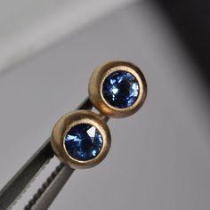 Blue Sapphire Earrings- 18k Gold, $420