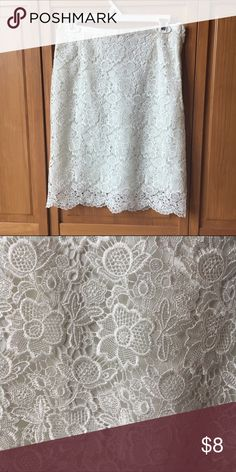 Cream Lace Skirt Only worn once and one of my favorites! I hate to see this go. Beautiful cream Lace pencil skirt. Length hits directly at the knee. Excellent condition and lovely detail! Size 8 but probably fits more like a size 6. H&M Skirts Pencil