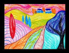 Turn a plain landscape into a wild landscape with the use of brilliant, vivid color in a fauvist style with Crayola Color Sticks.