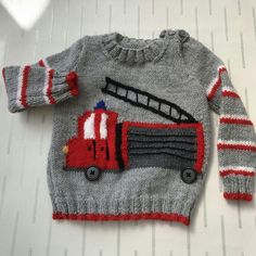 Fire engine design jumper £10.00 Baby Jumpers, Knitted Baby, Red Band, Fire Engine, Red And White Stripes, Beautiful Gifts, Black Button, Hand Knitting, Pattern Design