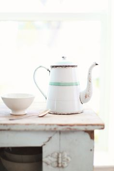 Vintage French Enamelware White and Blue Coffee Pot - love