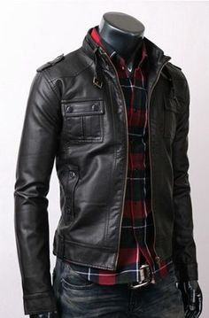 Slim black leather jacket looks great with the plaid.