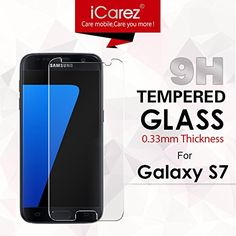 iCarez Premium Tempered Glass Screen Protector for Samsung Galaxy S7 9H Anti-Scratch Easy Install with Lifetime Replacement Warranty – Retail Packaging  1. Features & Advantages.         — Anti-Blast for Impact Resistance    iCarez Tempered Glass can greatly absorb external force from hitting, shocking, dropping etc., it scarify itself to be the best buffer for your screen.    — 9H Super Anti-Scratch Protection     Surface hard coating layer can effectively resist wearing, rubbing an..
