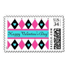 Hearts in Diamonds - Happy Valentine Stamps #vday #love #Happyvalentinesday #stamp #vdaystamp