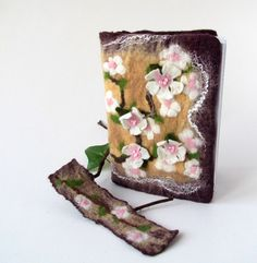 Felted journal notebook cover  Cherry blossom  gift by galafilc, $24.00