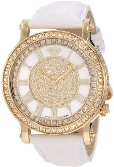 Juicy Couture Women's Queen Couture White Leather Strap Watch