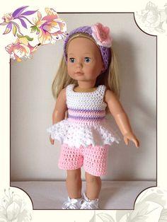 Crochet pattern pdf  for 18 inch doll, American Girl doll, designer friend doll or Gotz doll