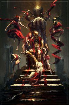 L'araignée maléfique faisait danser les ombres et les marionnettes et usurpait le trône du roi. L'amure paraissait lui aller comme un linge ajusté. Les reflets mordorés que la lumière faisait en rencontrant la surface métallique donnait l'impression que l'armure dansait, qu'elle était fluide comme l'eau ou l'ombre. A certains moments vous pouviez jurer qu'elle anticipait les mouvements du seigneur tandis qu'à d'autres moments elle paraissait les rattraper en bougeant à contre-temps