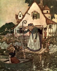 'Then an old woman came out of the house; she was leaning upon a big, hooked stick, and wore a big sun hat, which was covered with beautiful painted flowers' Illustration by Edmund Dulac from The Snow Queen - The Golden Age of Illustration Series by Pook Press